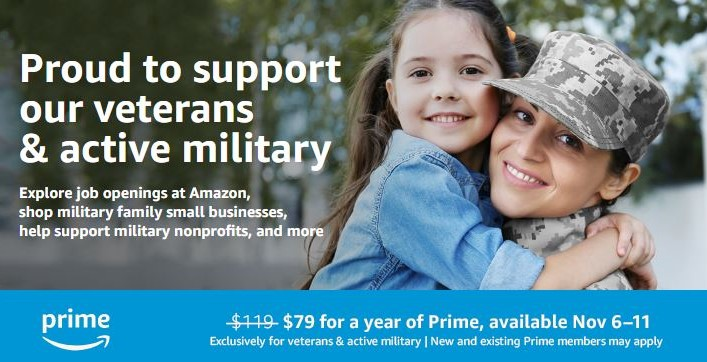 Amazon Prime Discount for Veterans Day
